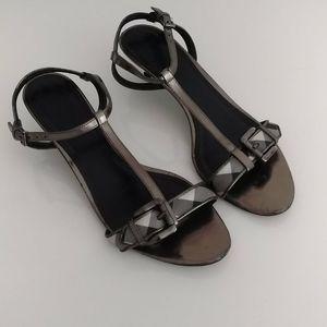 Burberry Gunmetal Ankle Strap Sandals